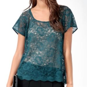 Love 21 Floral Lace Scalloped Overlay Top, Teal, L
